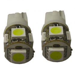 5Q LED Xenon White T10 12V 2stuks