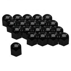 Wielmoerkapjes zwart metaal 17mm, set a 20 stuks