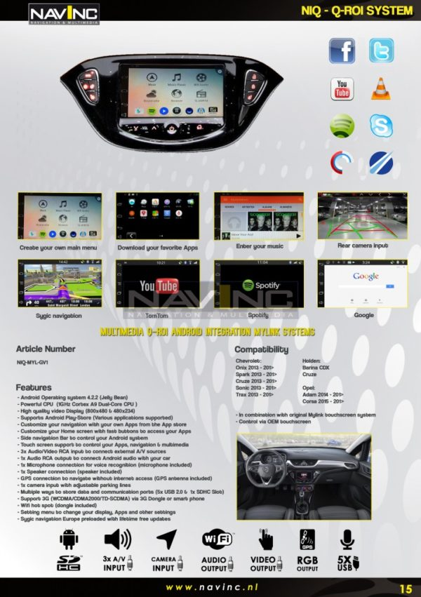 Multimedia Q-roi Android integratie set NIQ-MYL-GV1-1